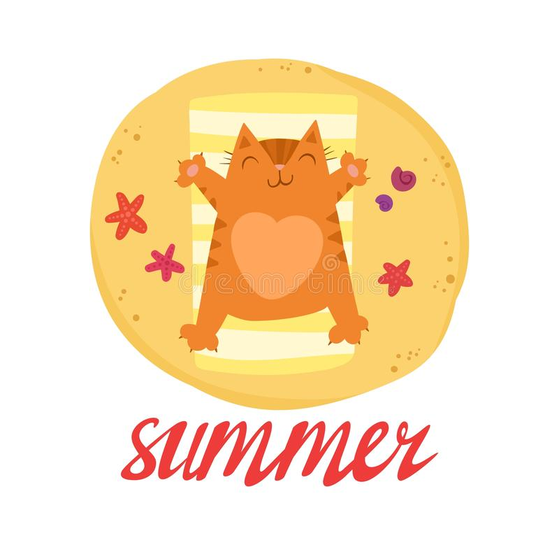 Cute red cat with a heart on the belly sunbathes on the beach. Summer  bright lettering and Illustration for postcards and t-shirt printing vector illustration