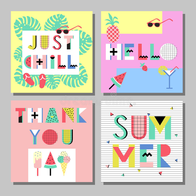 Summer bright memphis style cards set. Design with geometric elements food stock illustration