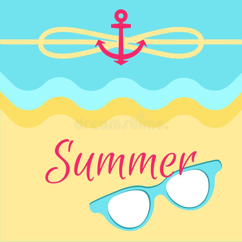 Summer Bright Poster, Colorful Vector Illustration. Abstract water and sandy beach, cute summer sunglasses, red anchor, yellow rope, cordage loop vector illustration