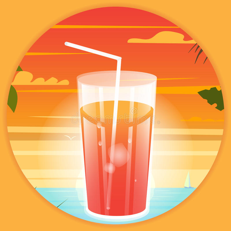 Summer bright poster with a drink at the beach background. stock illustration