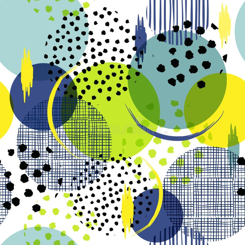 Summer bright Seamless many pattern in big polka Dots. Fill in w royalty free illustration