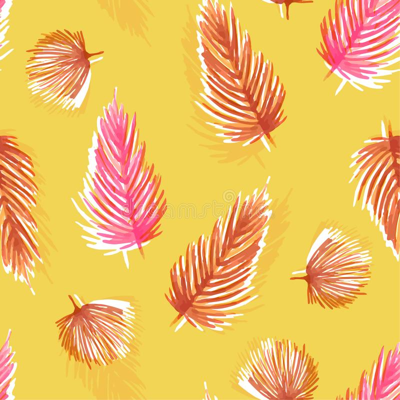 Summer bright Watercolor seamless pattern with tropical leaves royalty free illustration
