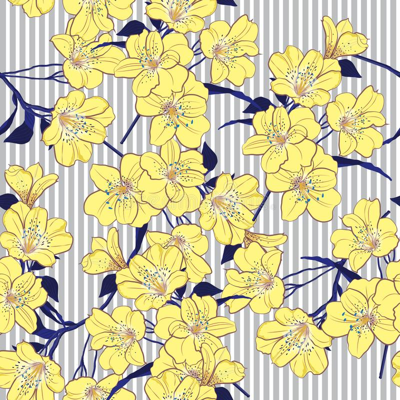 Summer bright yellow blooming flowers with blue leaves on the l stock illustration