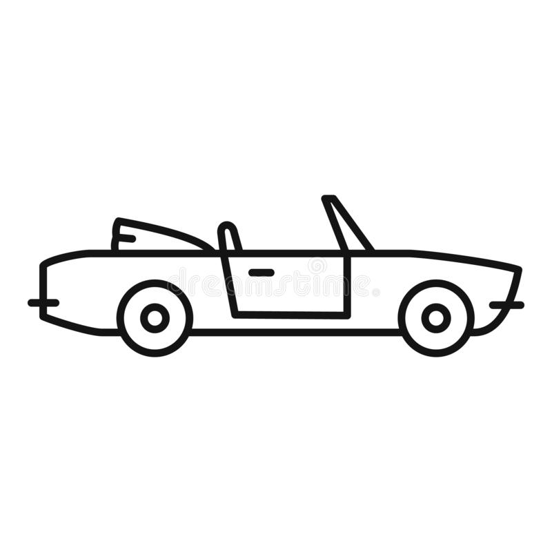Summer cabriolet icon, outline style. Summer cabriolet icon. Outline summer cabriolet vector icon for web design isolated on white background royalty free illustration