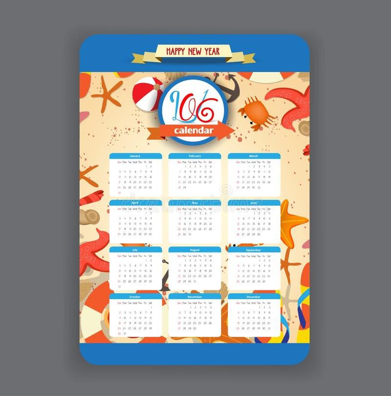 Summer Calendar 2016 year design stock illustration