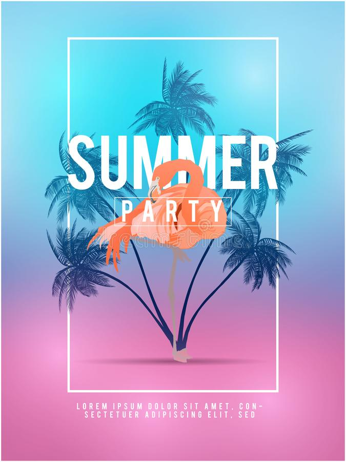 Summer california tumblr backgrounds set with palms, sky and sunset. Summer placard poster flyer invitation card. Summer party. vector illustration