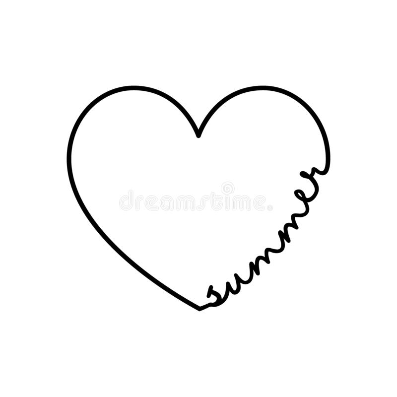 Summer - calligraphy word with hand drawn heart. Lettering symbol illustration for t-shirt, poster, wedding, greeting royalty free illustration