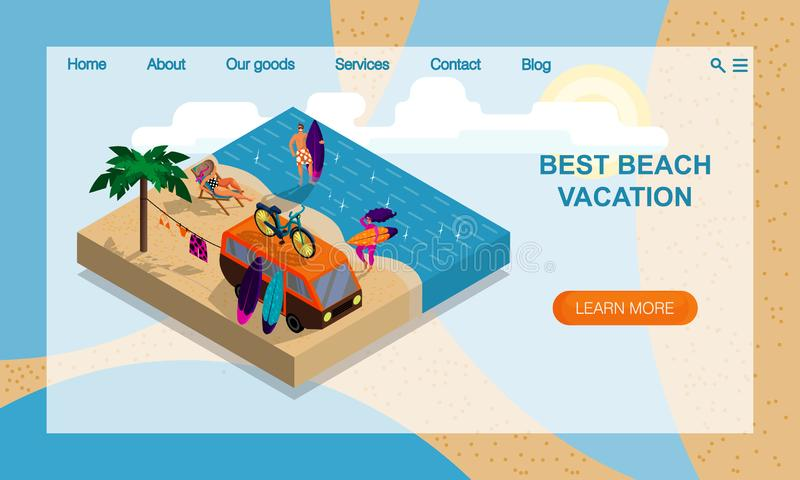 Summer Camp on Beach. Company of young surfers. Isometric 3D Illustration. Vector website landing page design template vector illustration