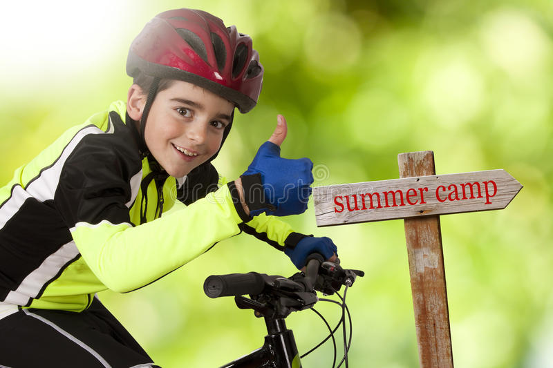 Summer camp. Bike to summer camp, holidays royalty free stock images