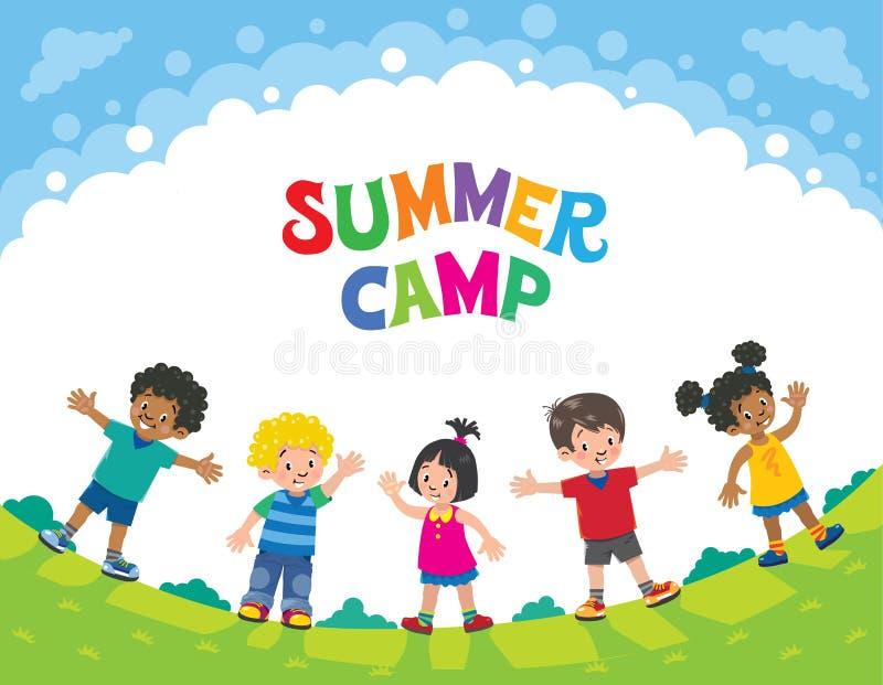 summer camp children design template with logo stock vector rh dreamstime com children victorian chairs children victorian era