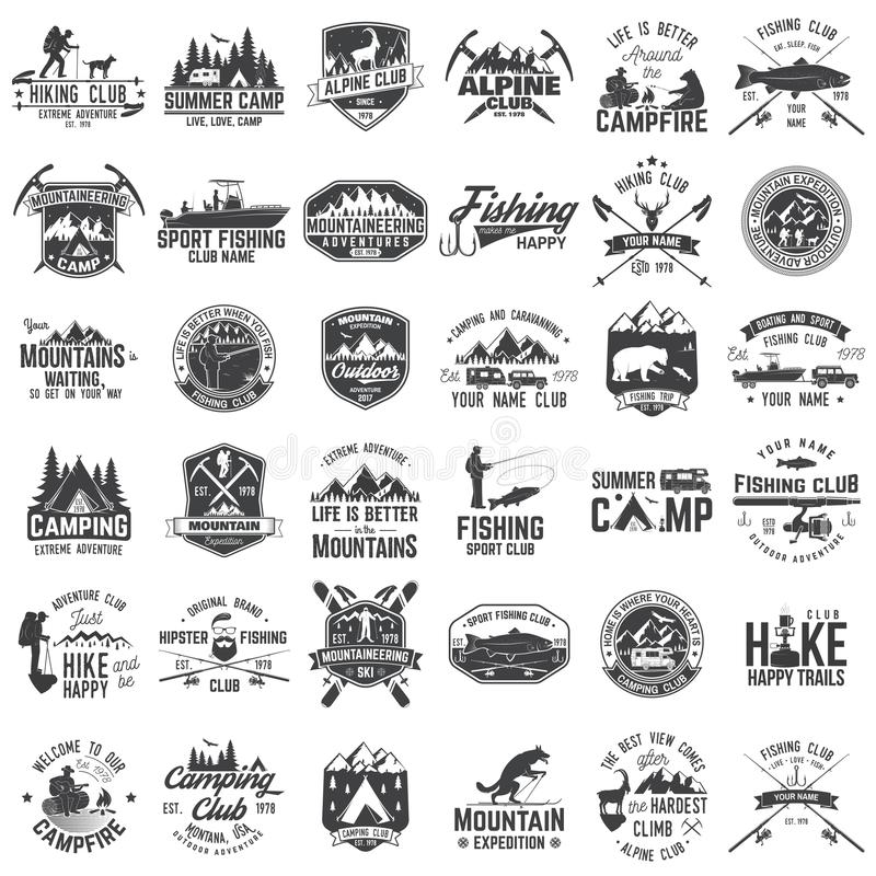 Set of extreme adventure badges. Concept for shirt or logo, print, stamp or tee. royalty free illustration