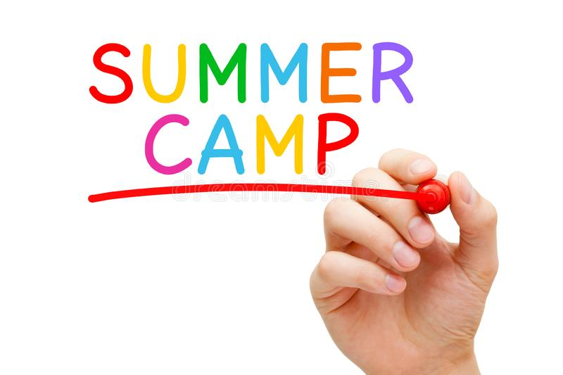 Summer Camp Handwritten Colorful Concept stock illustration