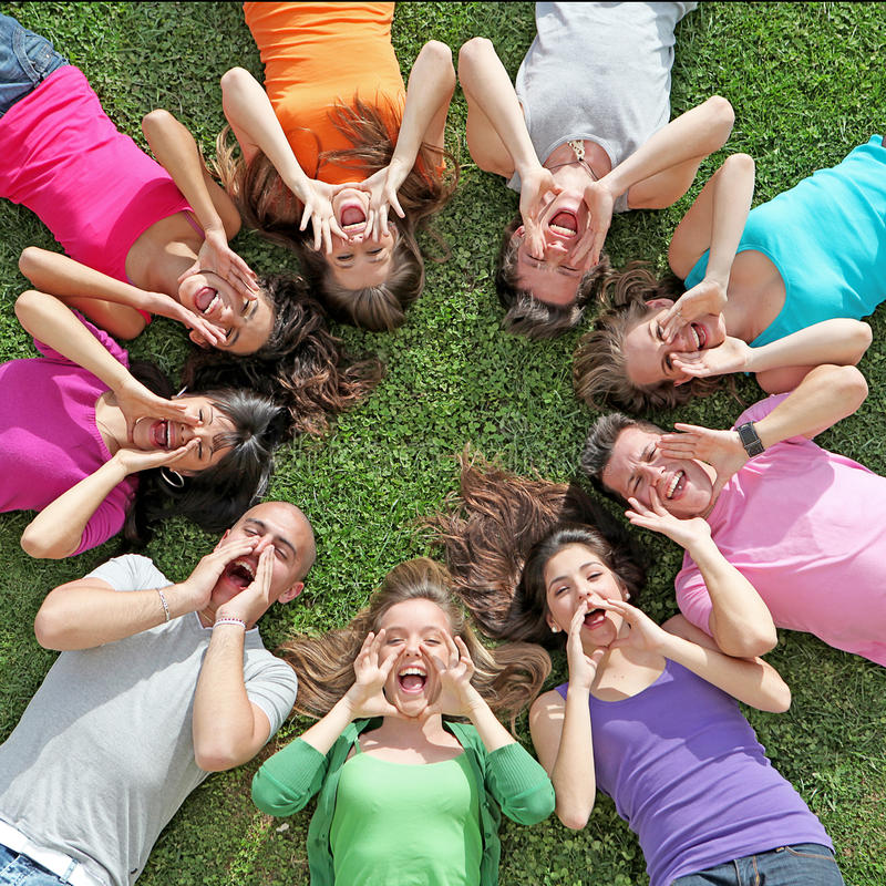 Summer camp kids. Large group of happy kids, children youth at summer camp stock image