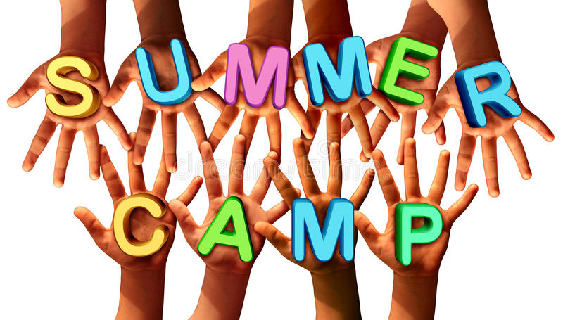 Summer Camp Kids. As multi ethnic school chldren with open hands holding letters as a symbol of recreation and fun education with a group working as a team for