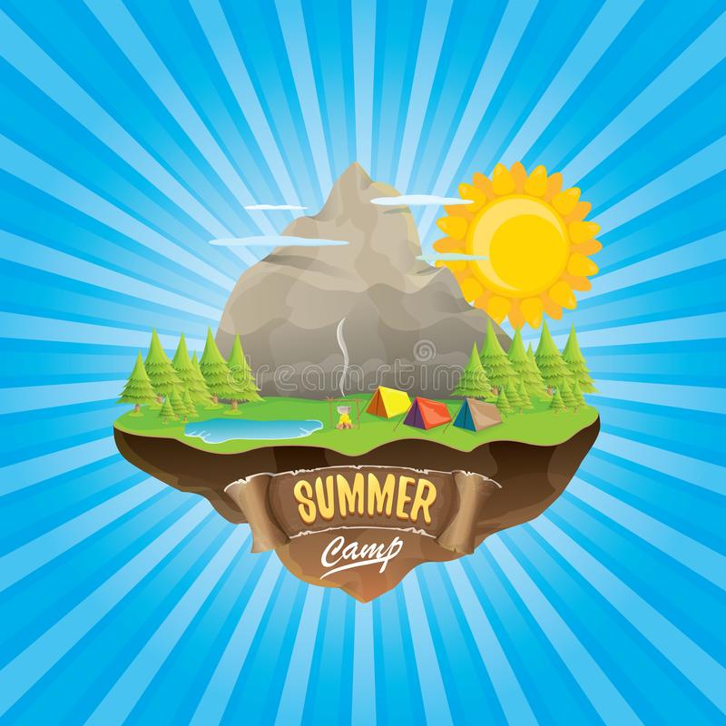 Free Summer Camp Kids Logo Concept Illustration With Green Valley, Mountains, Trees, Sun, Clouds, Camp Fire, Camping Tent And Stock Photography - 117964182