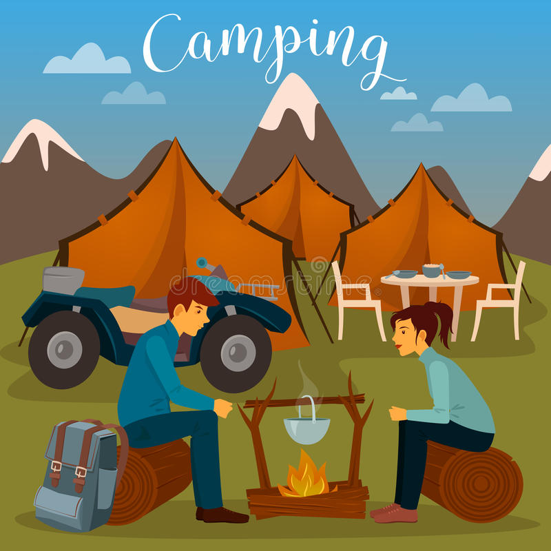 Summer Camp. Man and Woman sitting by Fireplace. Camping and ATV vector illustration