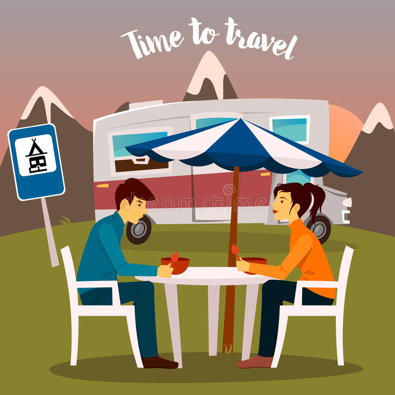 Summer Camp. Man and Woman Sitting Near the Camper stock illustration