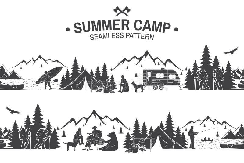 Summer camp seamless pattern. Vector illustration. royalty free illustration
