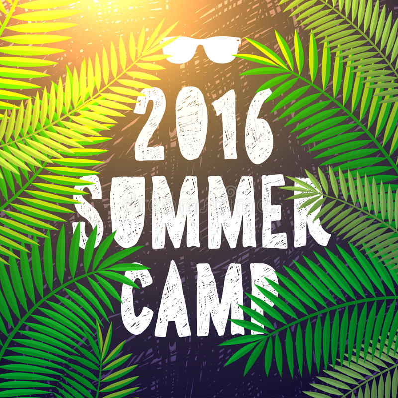 Summer camp 2016, themed and vacation poster vector illustration