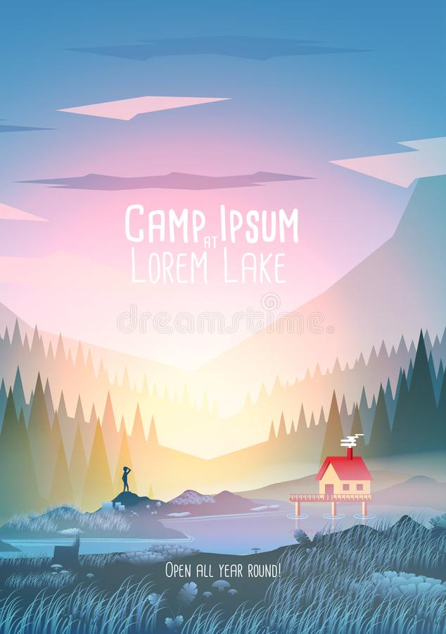 Summer Camp Vacation Poster with Mountain Lake - Vector Illustration stock illustration