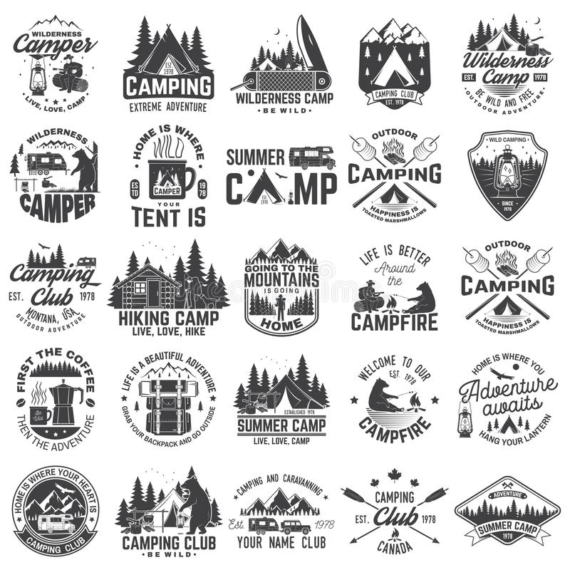 Summer camp. Vector. Concept for shirt or patch, print, stamp. Vintage typography design with rv trailer, camping tent stock illustration