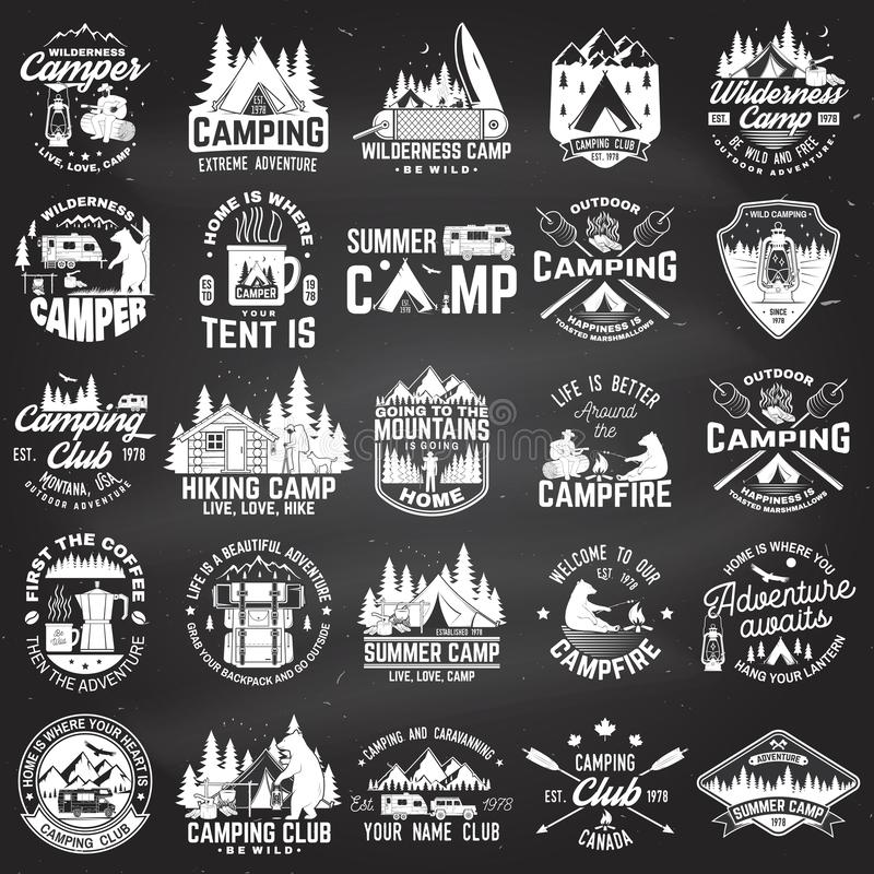 Summer camp. Vector. Concept for shirt or patch, print, stamp. Vintage typography design with rv trailer, camping tent royalty free illustration