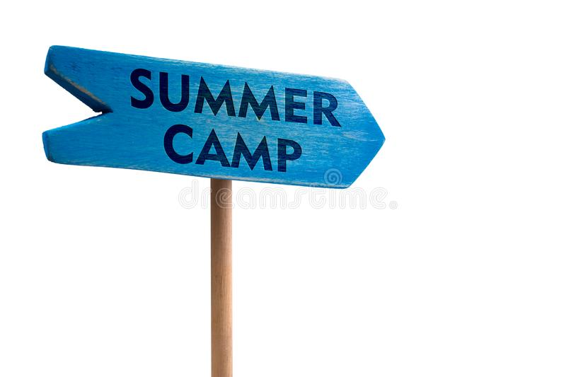 Summer camp wooden sign board arrow stock photo
