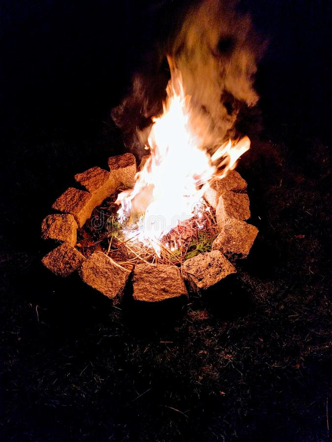 Summer campfire stock photography