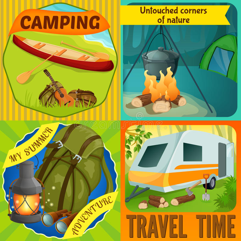 Summer Camping Compositions. With boat on river shore virginal nature tourist equipment travel time isolated vector illustration vector illustration