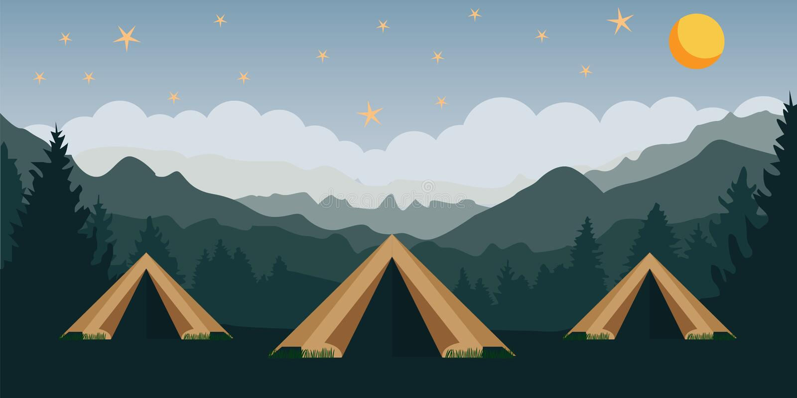 Summer camping high in the mountains vector illustration