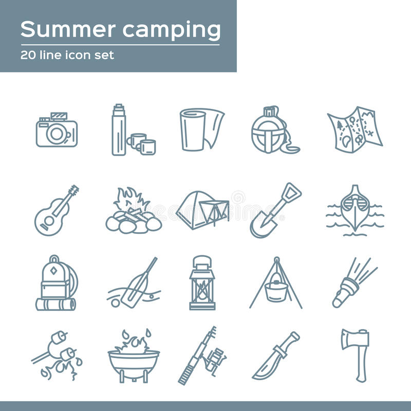 Summer camping 20 line icons set. Vector icon graphic for travel tourism Vacation: thermos, camera, flask, map, paper, guitar stock illustration
