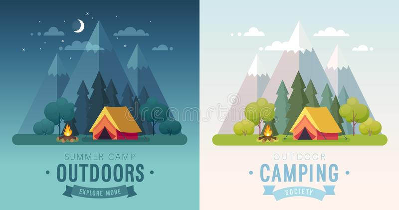 Summer Camping morning and night graphic posters. Banners with mountains, trees, tent and campfire. vector illustration