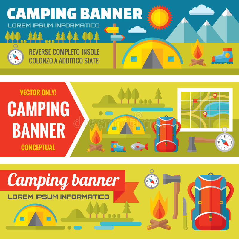 Summer camping - mountain expedition adventures - vector decorative banners set in flat style design trend royalty free illustration