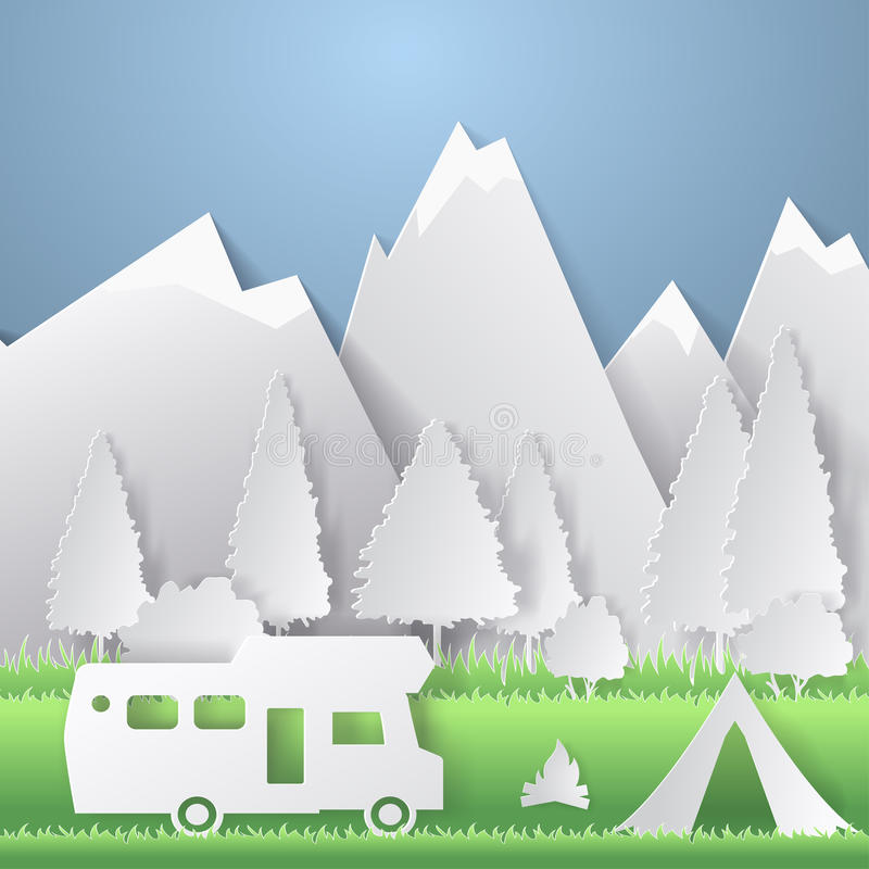 Summer camping paper cut style. Concept with mountain, trees, people at a picnic. Vector illustration.  stock illustration
