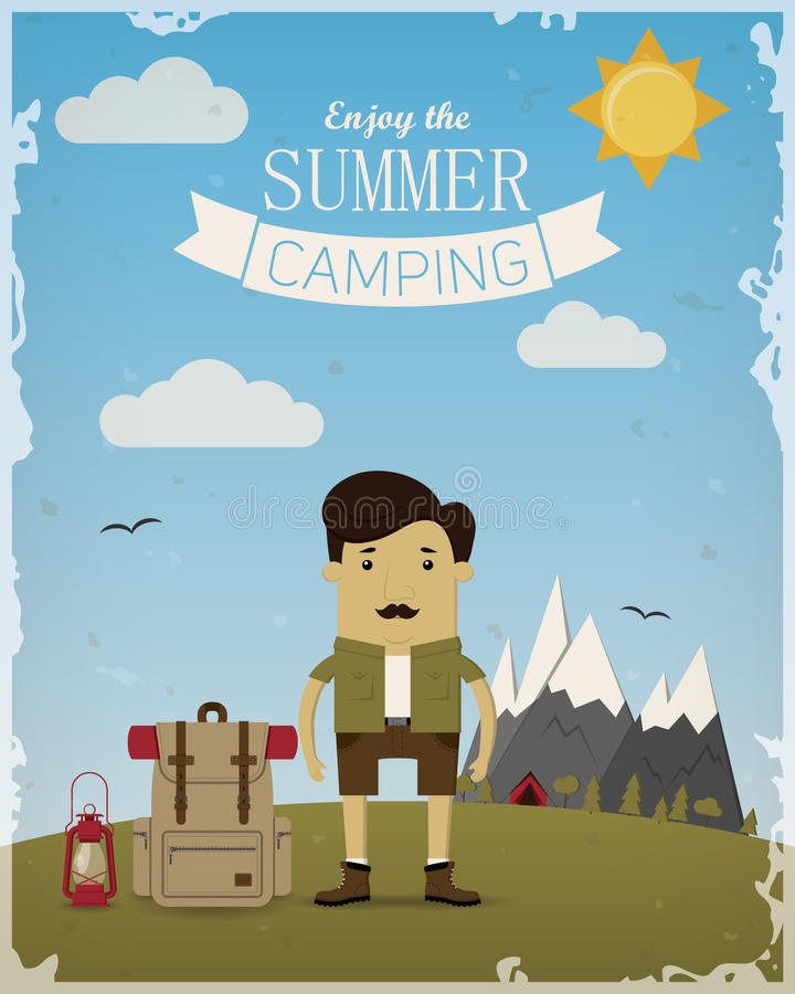 Summer camping poster stock photos