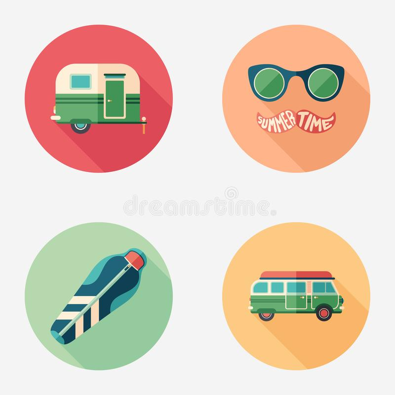 Summer camping and touring flat round icon set. vector illustration