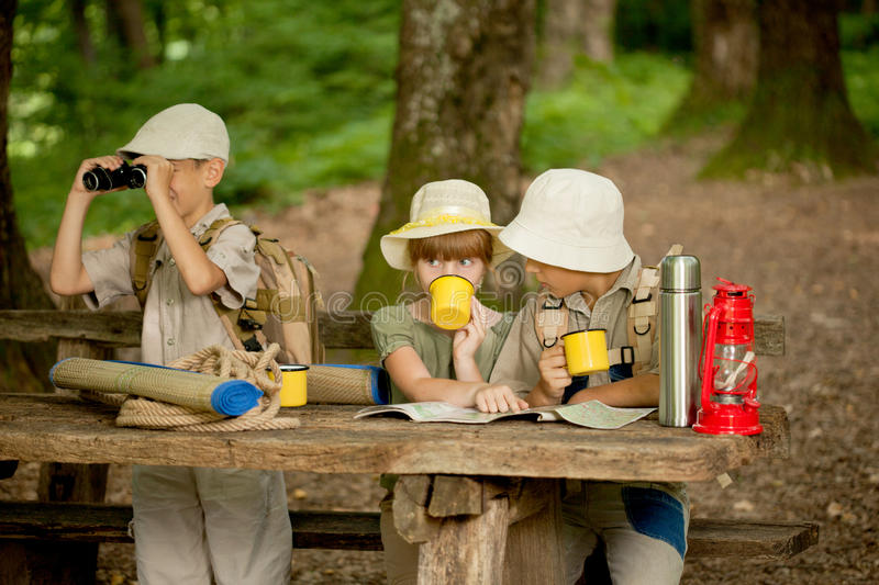 Summer camps,scout children read map. Little boys and girl go hiking with backpacks on a forest stock photography
