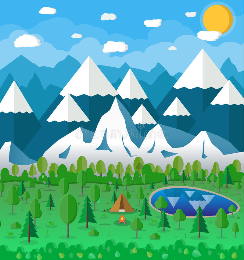 Summer Campsite with a campfire stock illustration