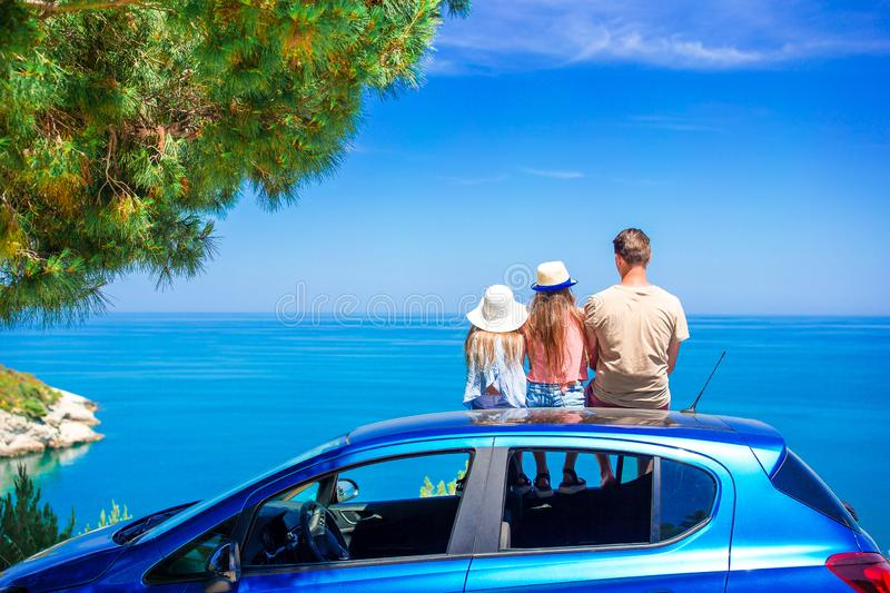 Summer car trip and young family on vacation royalty free stock images