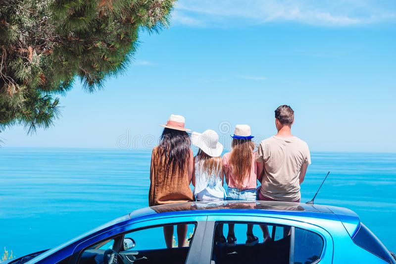 Summer car trip and young family on vacation stock photo
