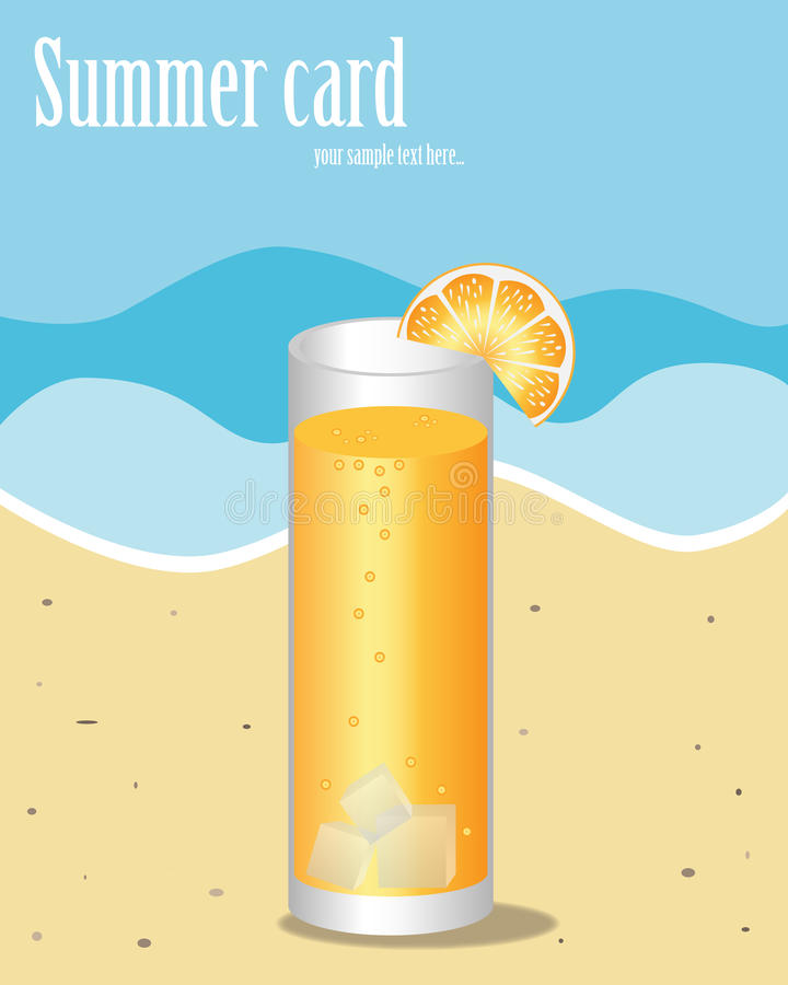 Summer card. Illustration of a summer card representative a shore of the sea and an orange cocktail.Useful as poster or brochure.EPS file available royalty free illustration