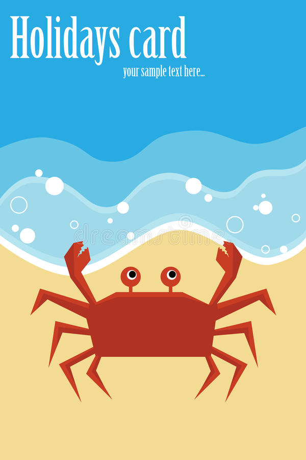 Summer card with crab royalty free illustration
