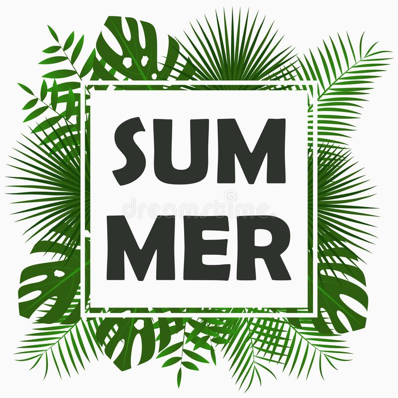 Summer card design with - tropical palm leaves, jungle leaf , exotic plants and border frame. Graphic for poster, banner. Vector. stock illustration