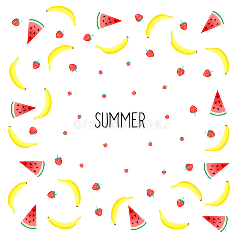 Summer card. Fruits design with yellow bananas, watermelon and strawberries stock illustration