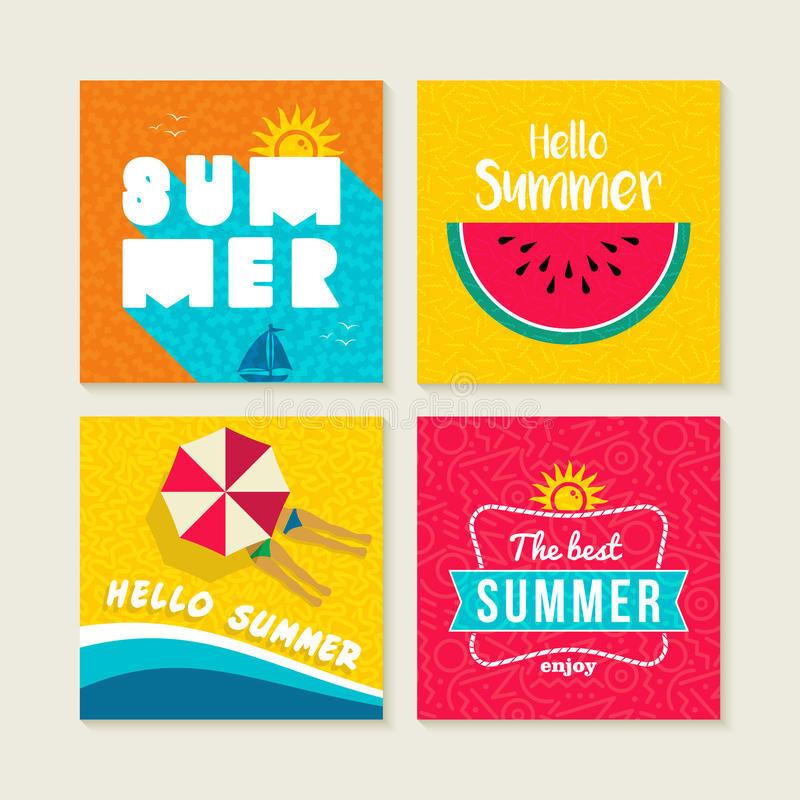 Download Summer Card Or Label Set With Happy Beach Elements Stock Vector    Illustration Of Calligraphic