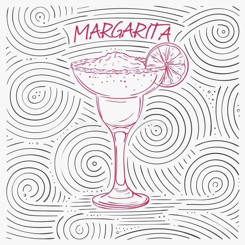 Summer Card With The Lettering - Margarita. Handwritten Swirl Pattern With Cocktail In Glass. royalty free illustration