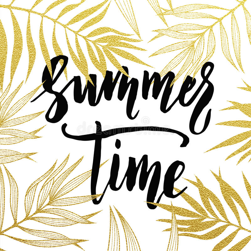 Summer Time Palm Leaves Pattern Card Hand Drawn Gold Lettering Background Golden Wallpaper With Calligraphic Glitter Leaf Travel