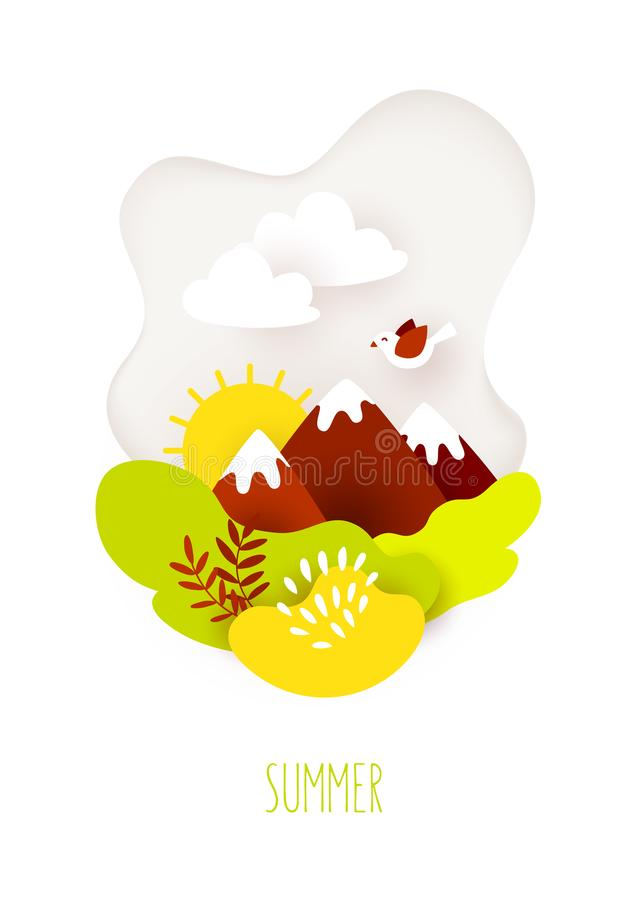 Summer card in paper art style with mountains, clouds, sun and plants on white background. Vector stock illustration