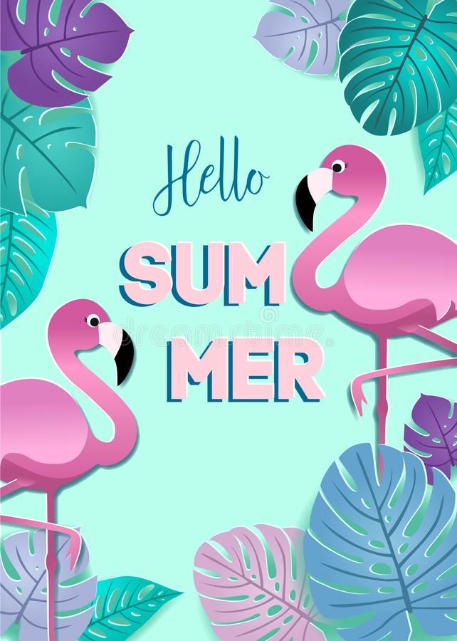 Summer card with paper flamingos and stylized tropical leaves. Vector design for banner, flyer, invitation, poster. Summer card with paper flamingos and vector illustration