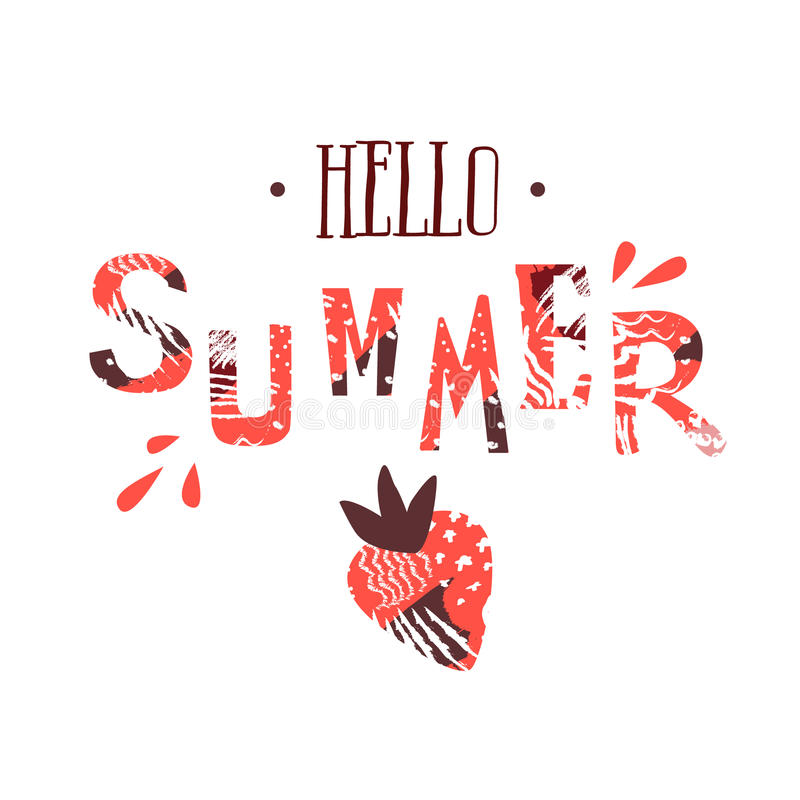 Download Summer Card With Text Hello Summer And Strawberry On White  Background. Cartoon Style.